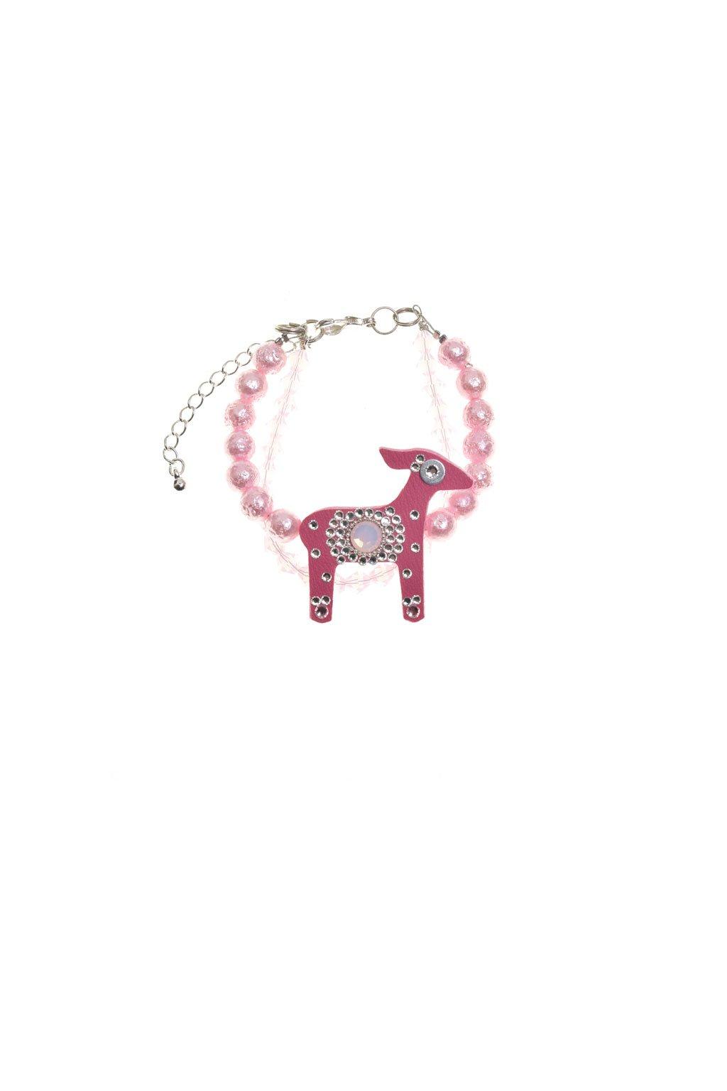 Deers jemně růžový náramek s mini laňkou