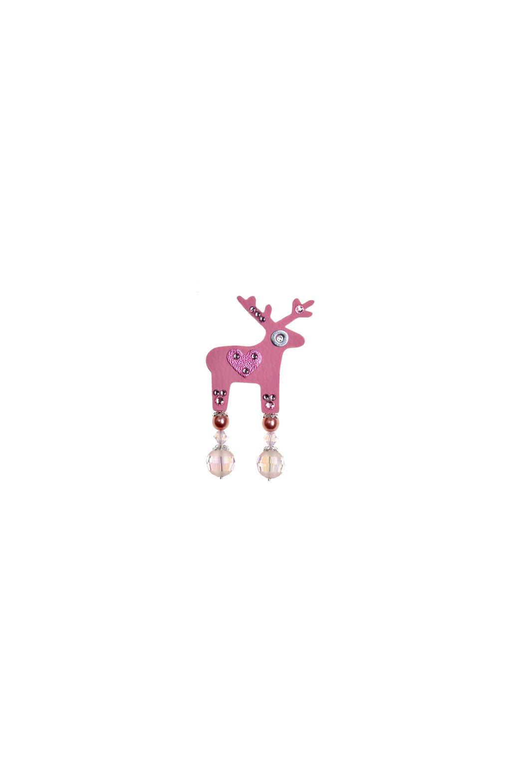 Červená jelení mini brož jelínka