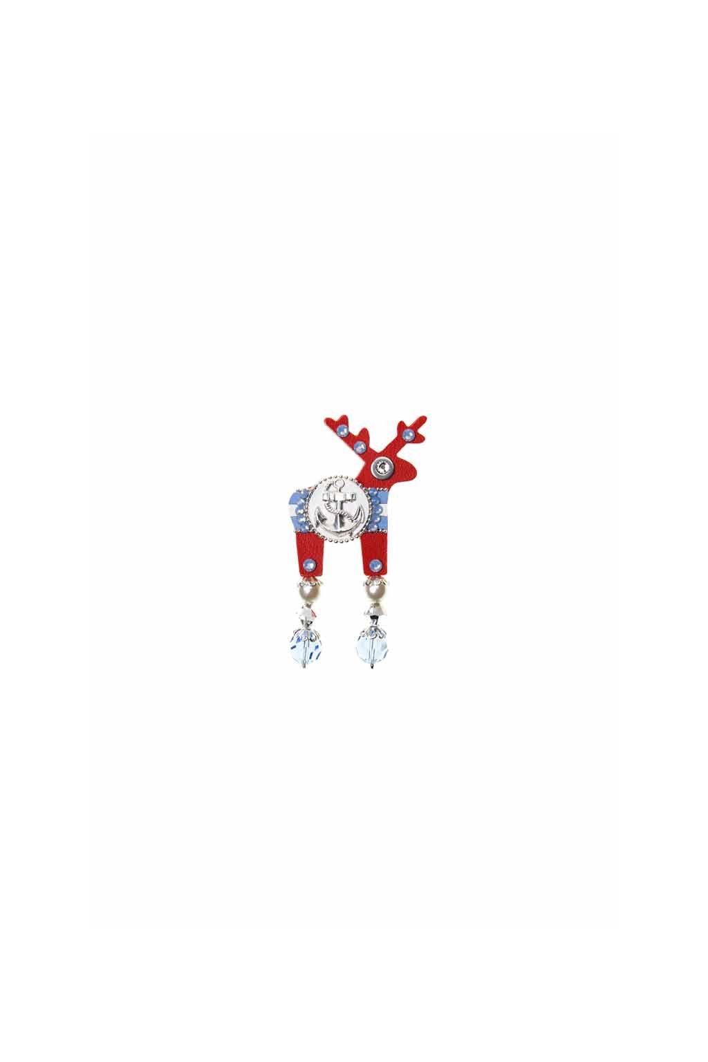Červená jelení mini brož