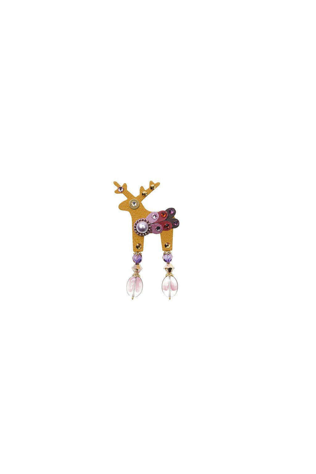 Béžová jelení mini brož