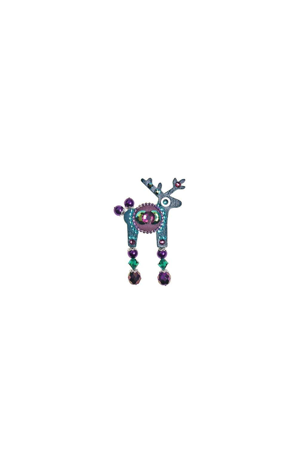 Tmavě červená jelení mini brož