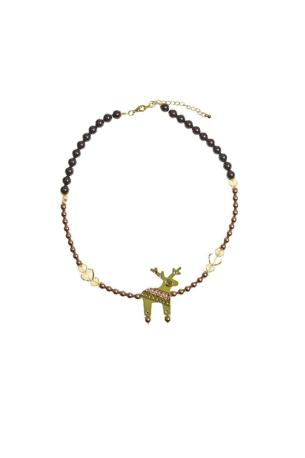 Růžový náhrdelník s peříčky