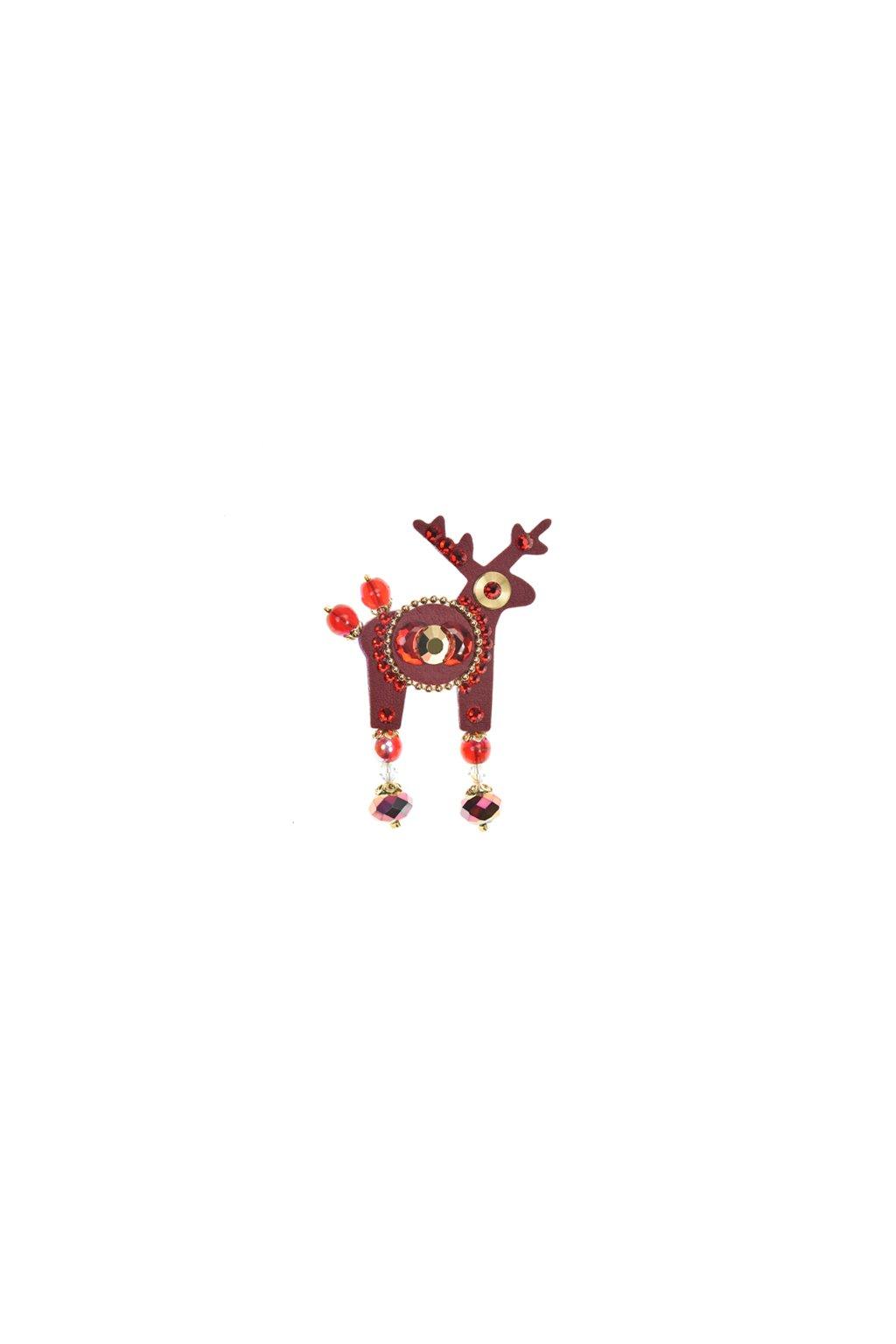 Tmavě červená jelení brož