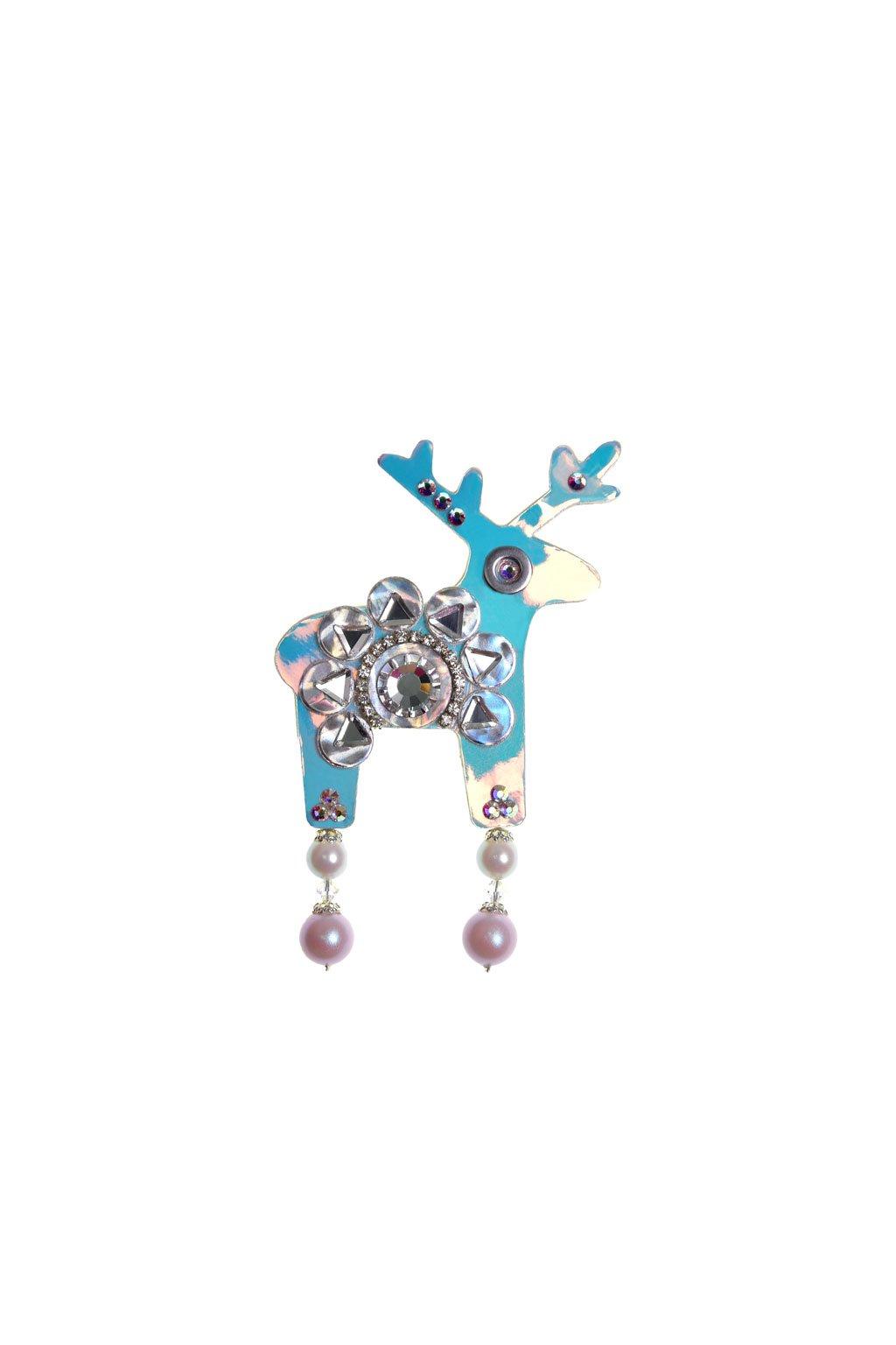 Modrá třpytivá jelení brož
