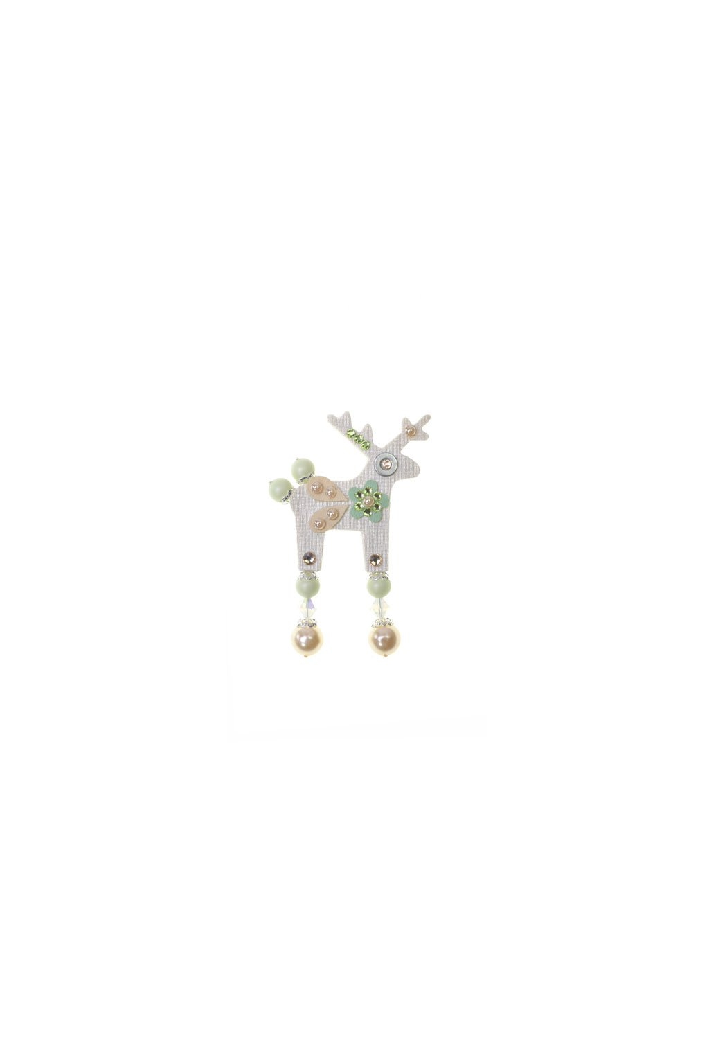 Bílá jelení mini brož