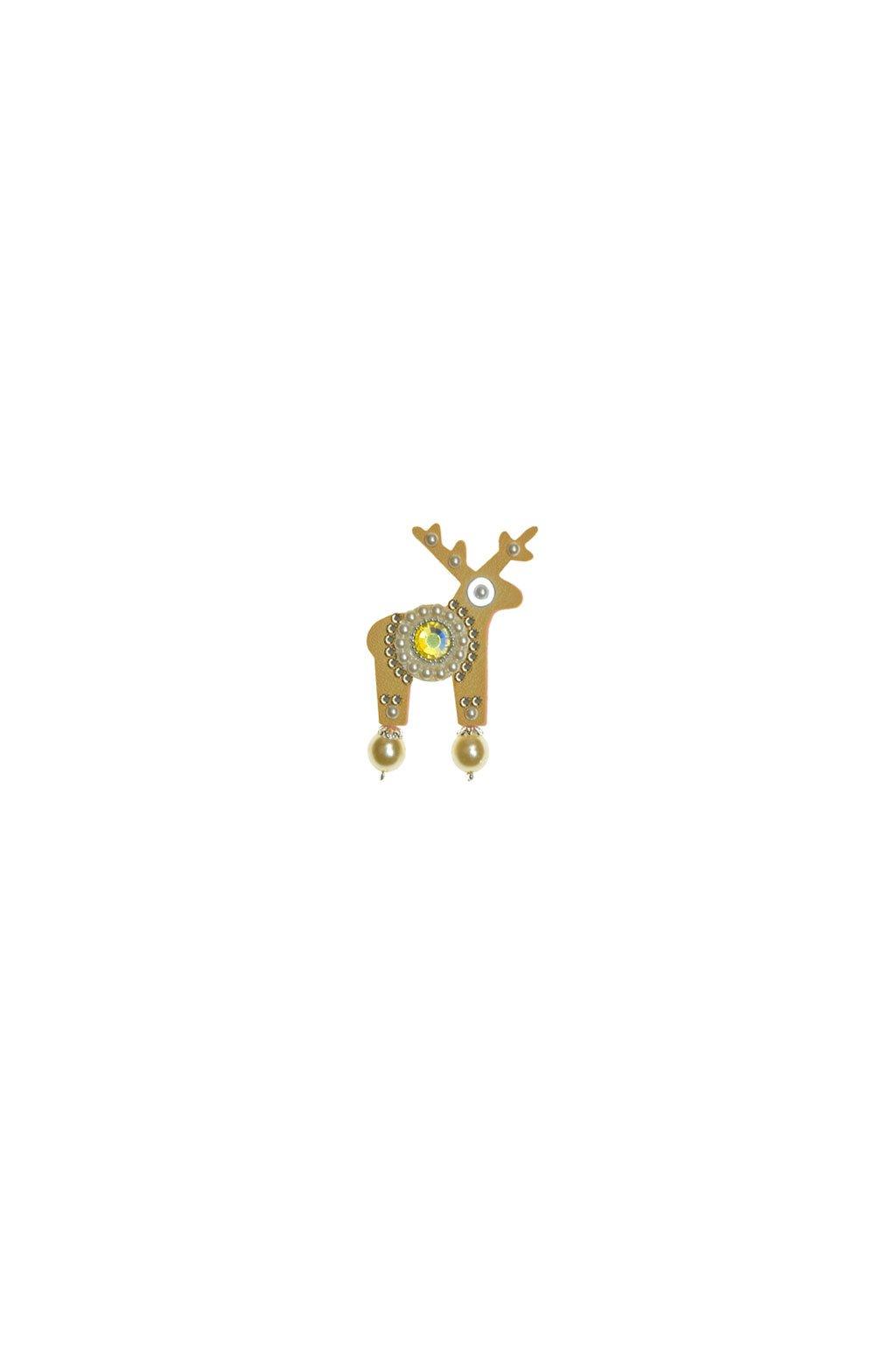 Jemně žlutá jelení mini brož