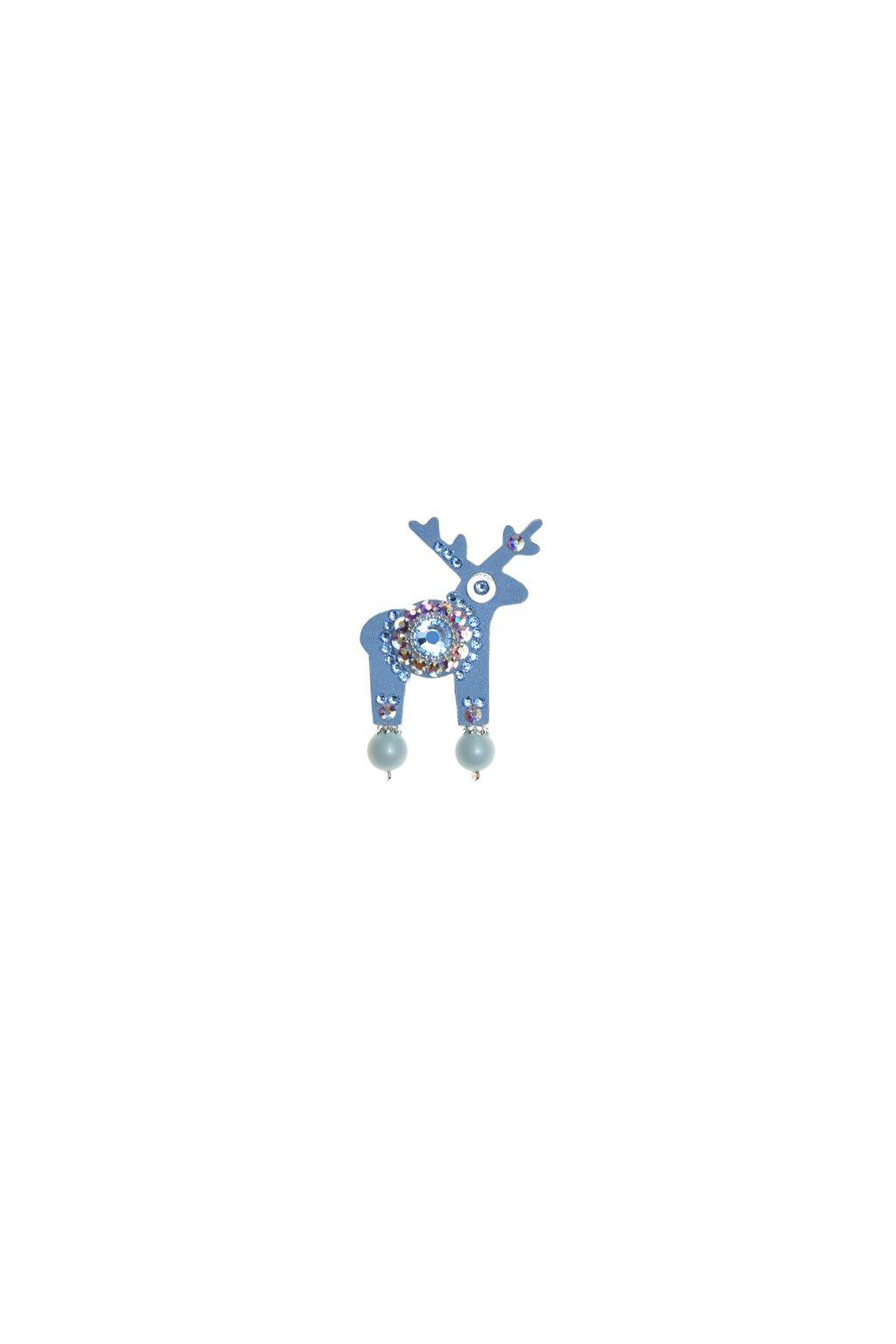 Světle modrá jelení mini brož