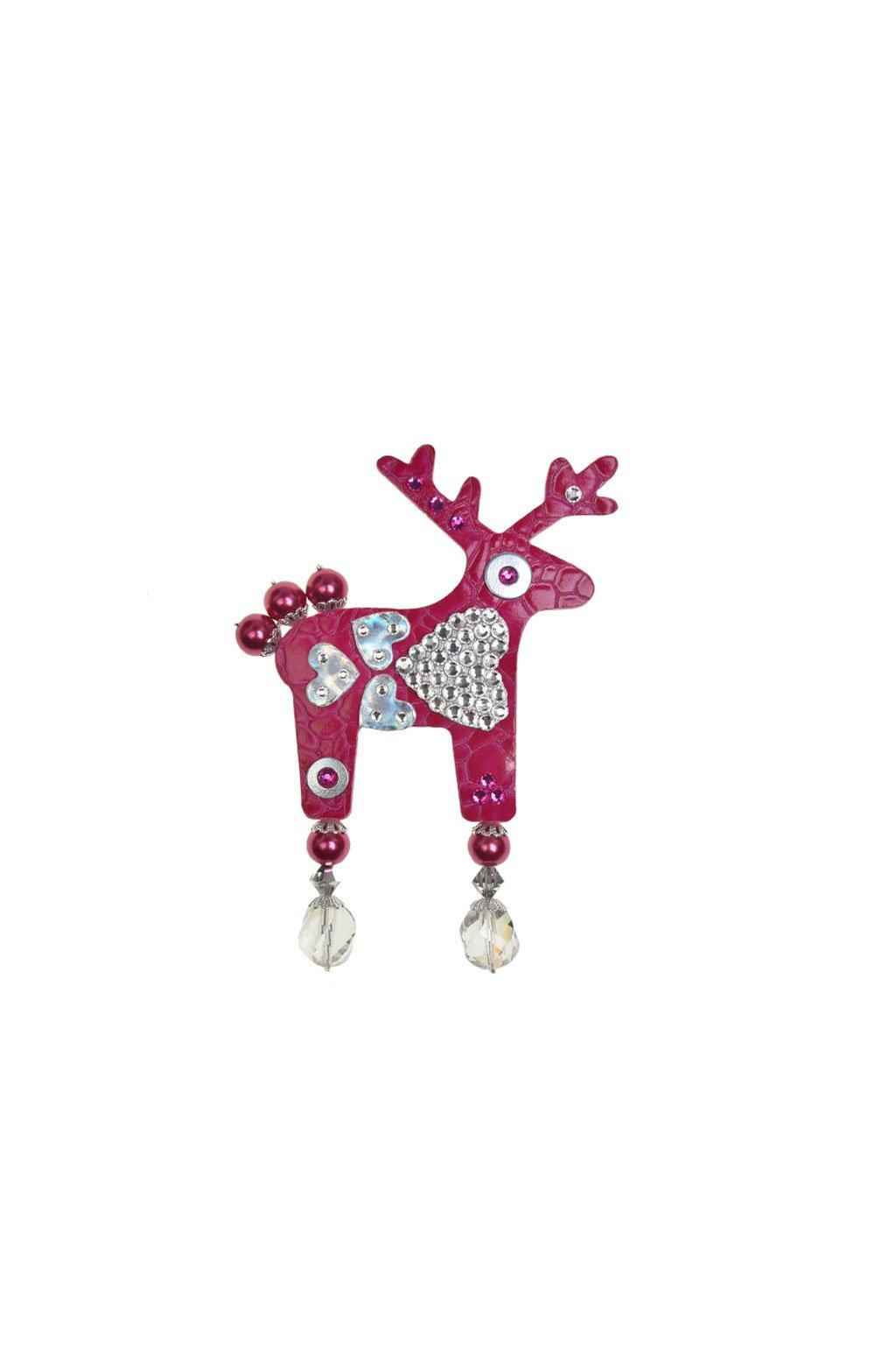 Jemně růžová jelení mini brož