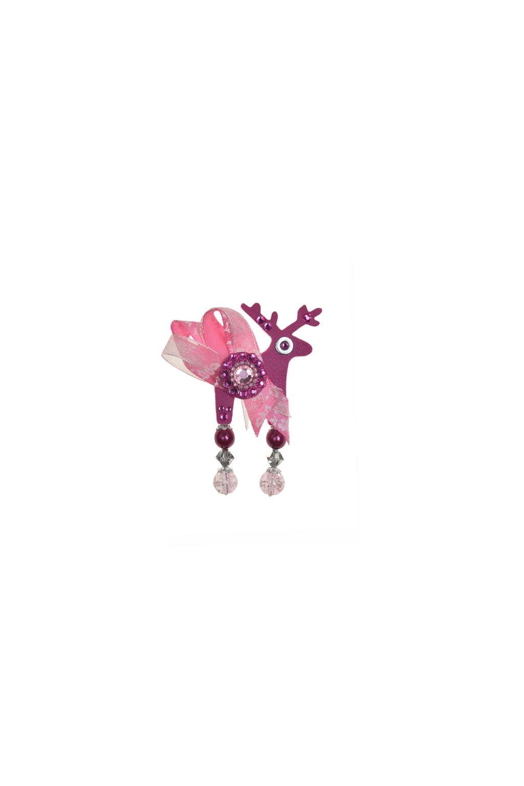 Světle modrá mini brož jelínka