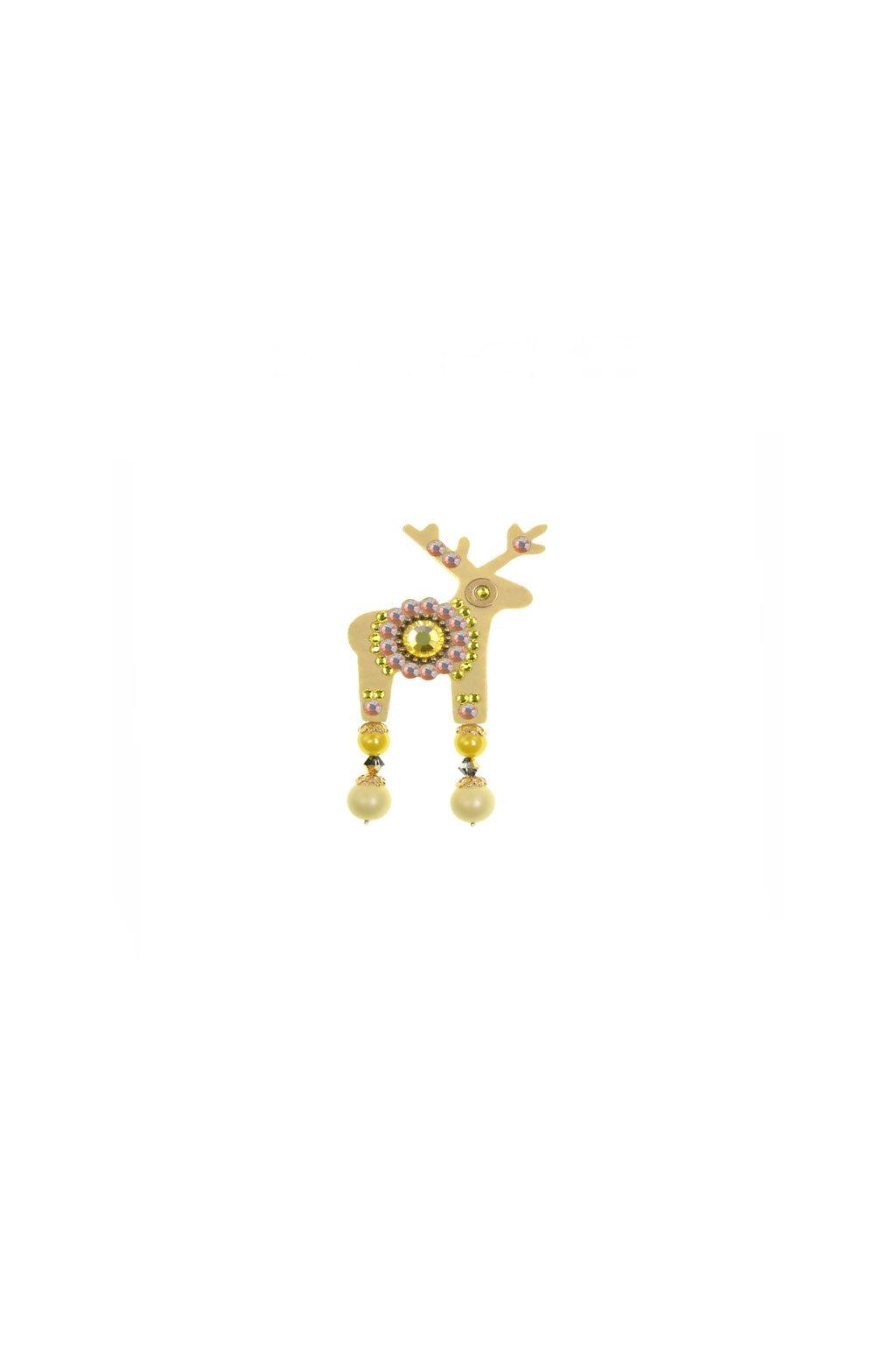 Růžová jelení mini brož