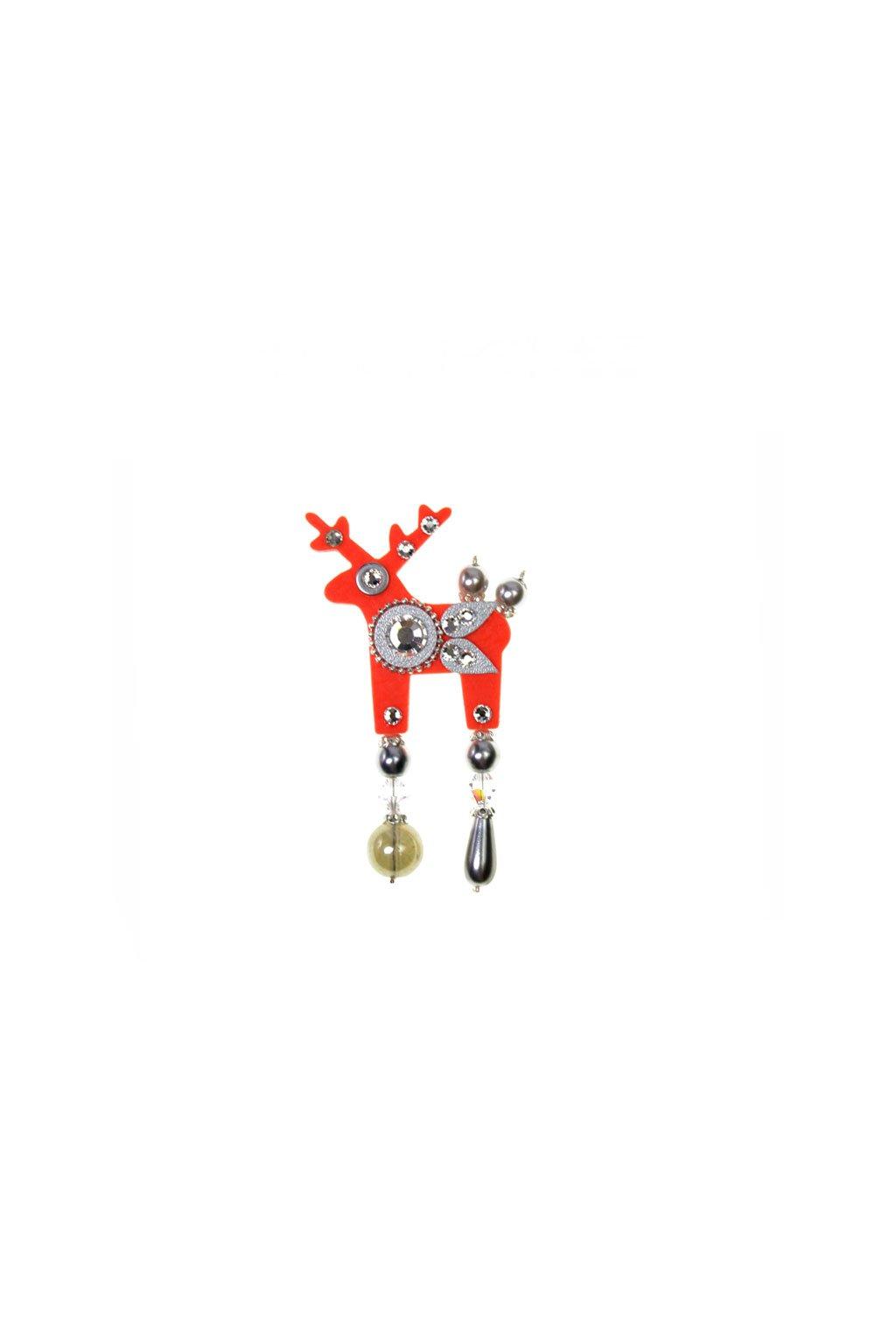 Vínová jelení mini brož