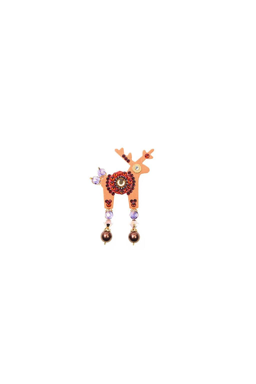Oranžová jelení mini brož