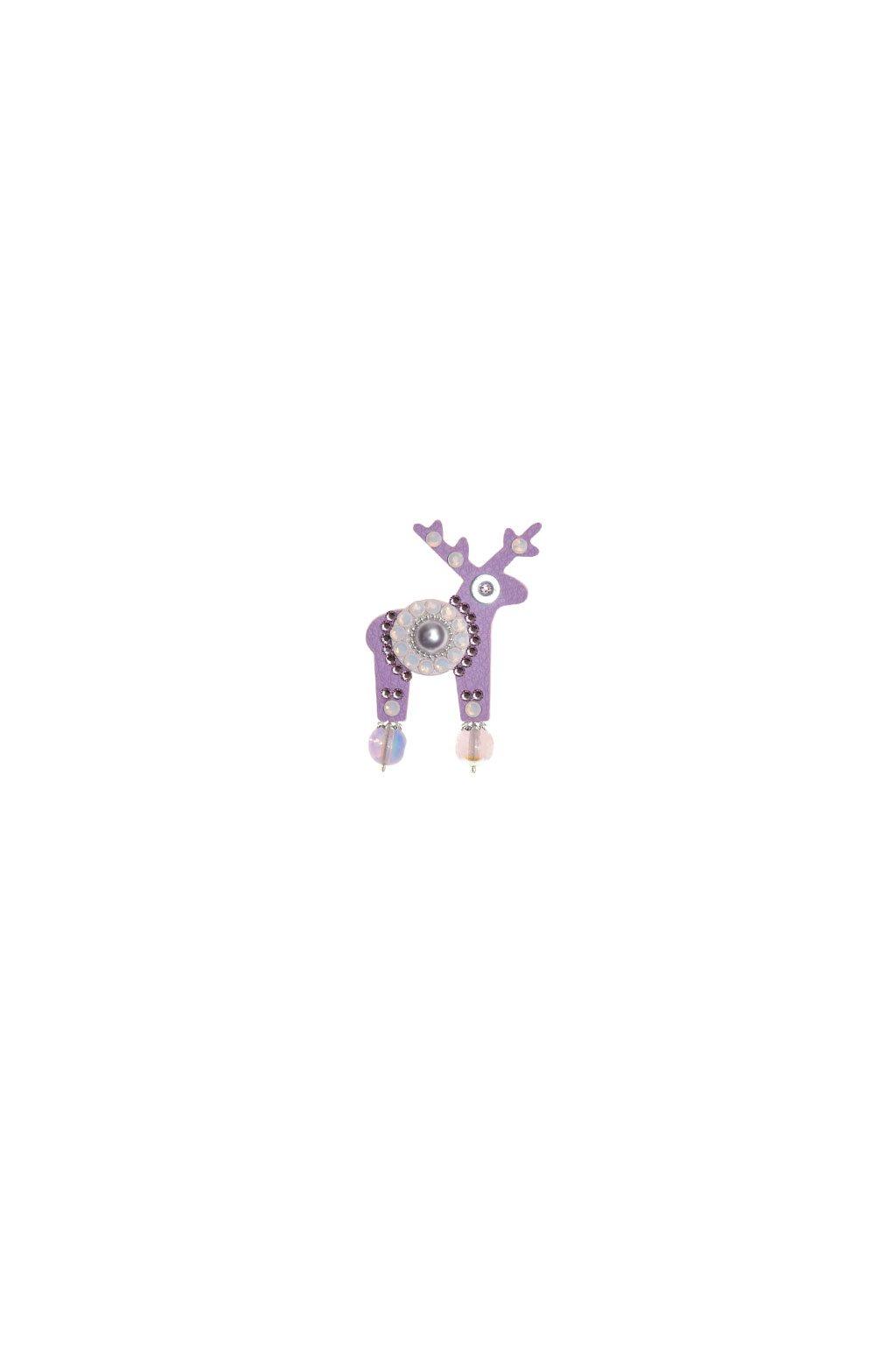 Světle fialová jelení mini brož