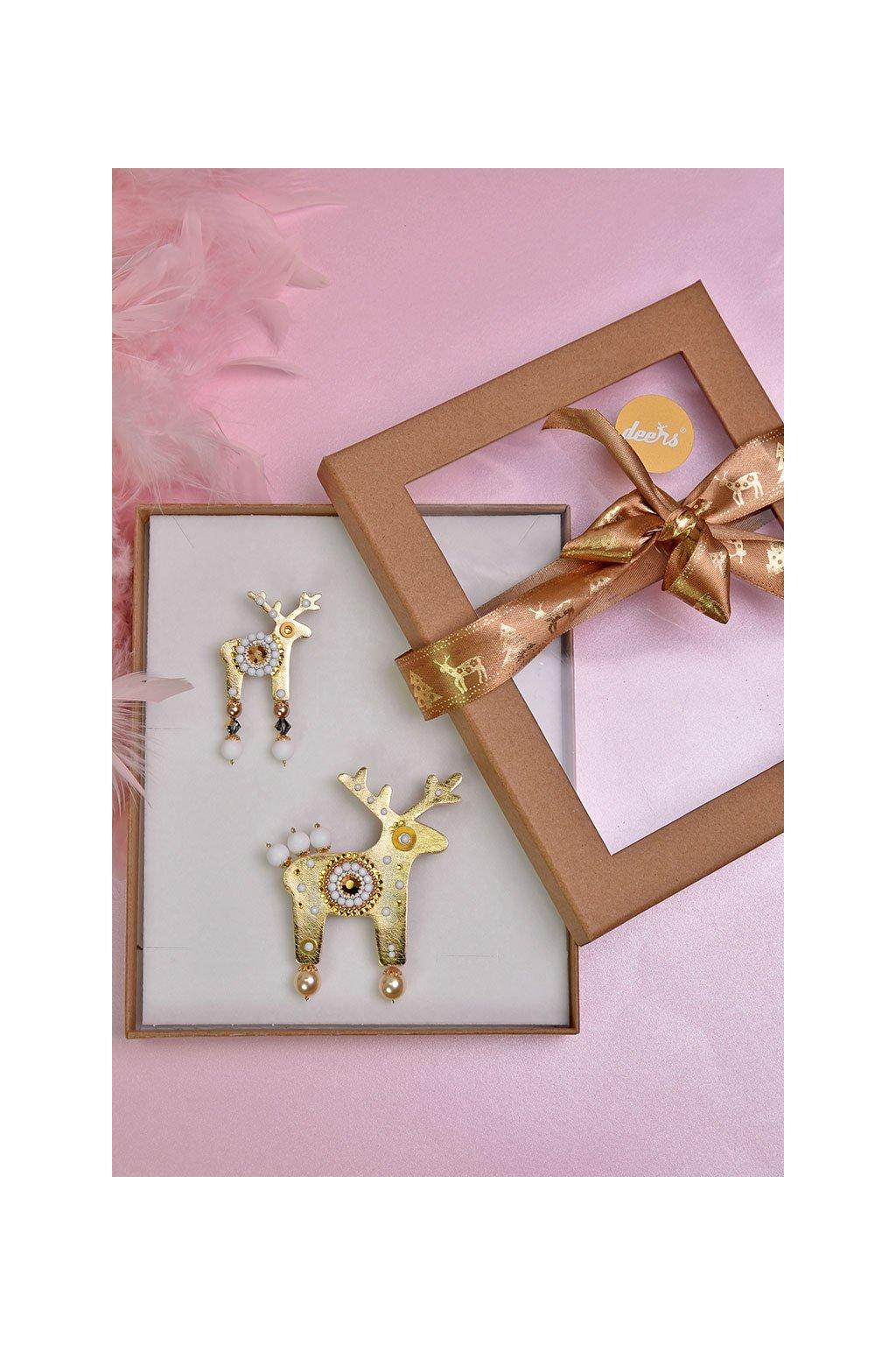 Měděná jelení mini brož