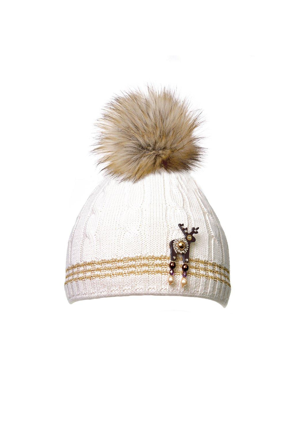 Béžová čepice KAMA s mini broží