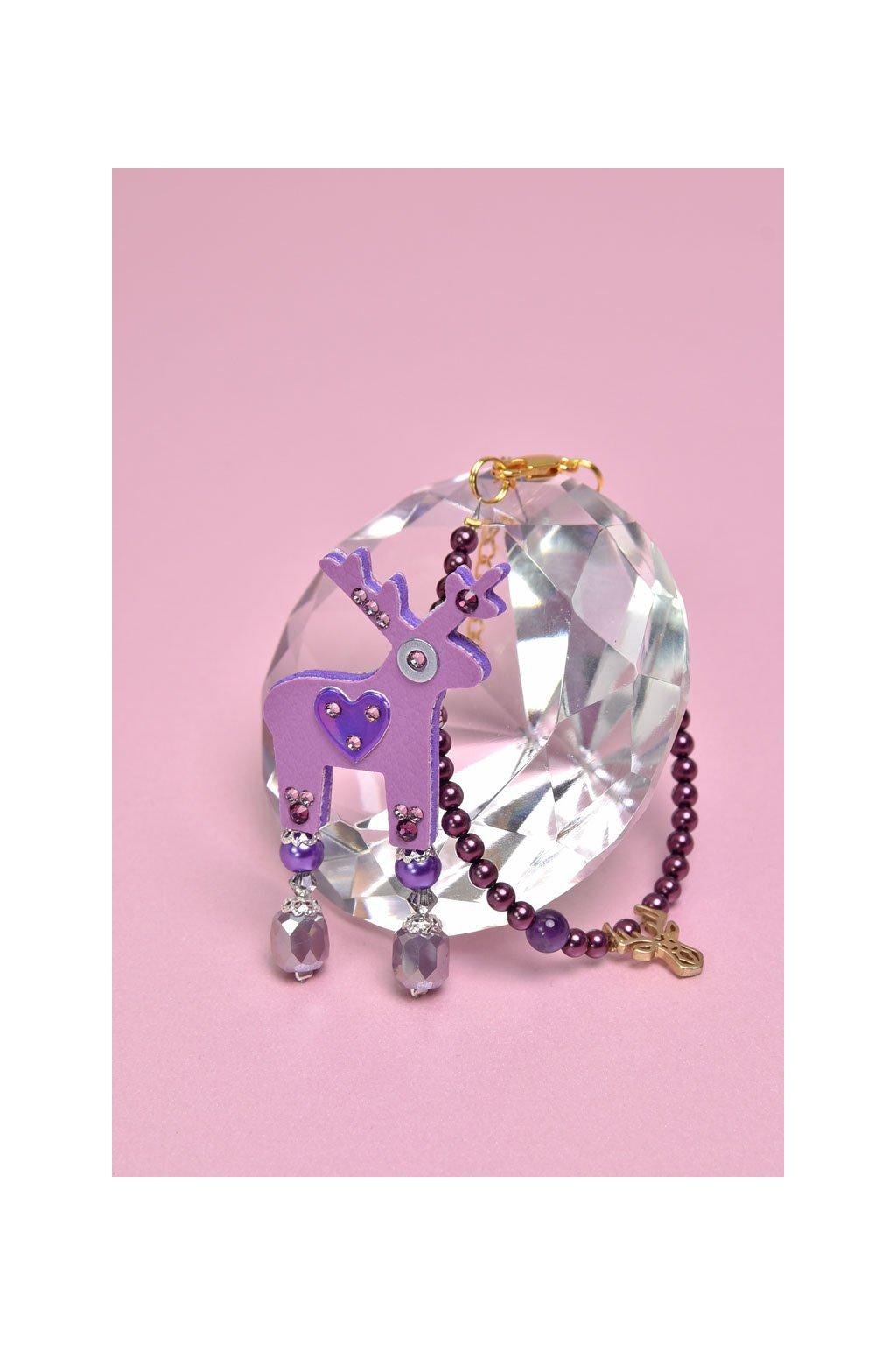 Tmavě tyrkysová jelení mini brož