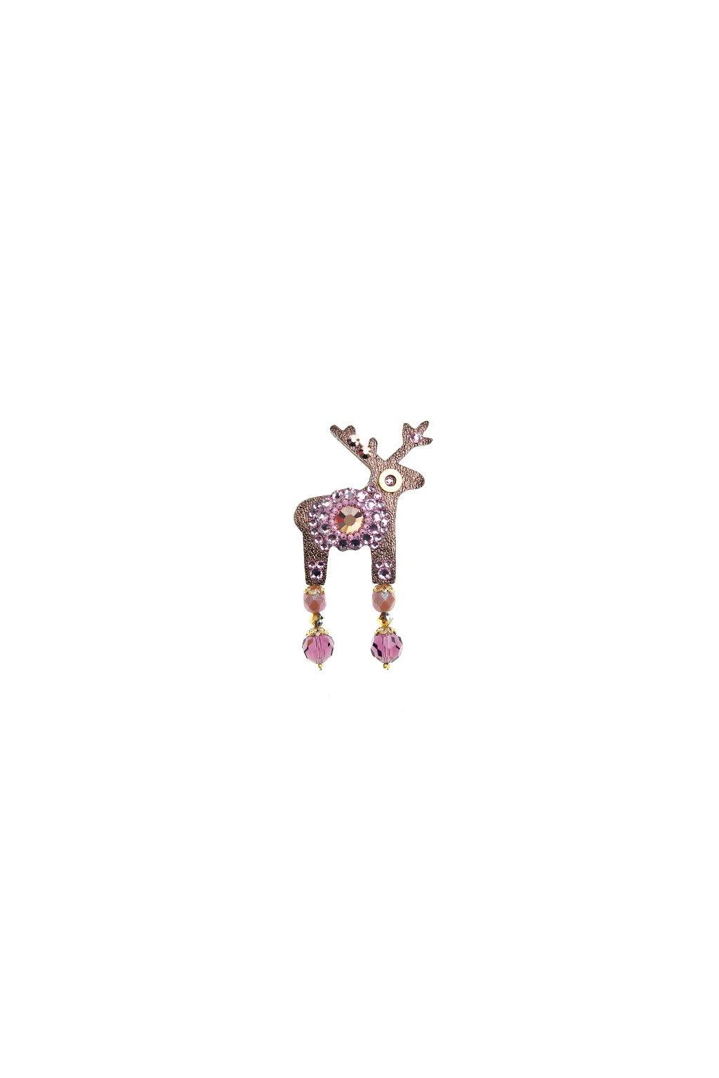 Růžová mini brož s jelínkem