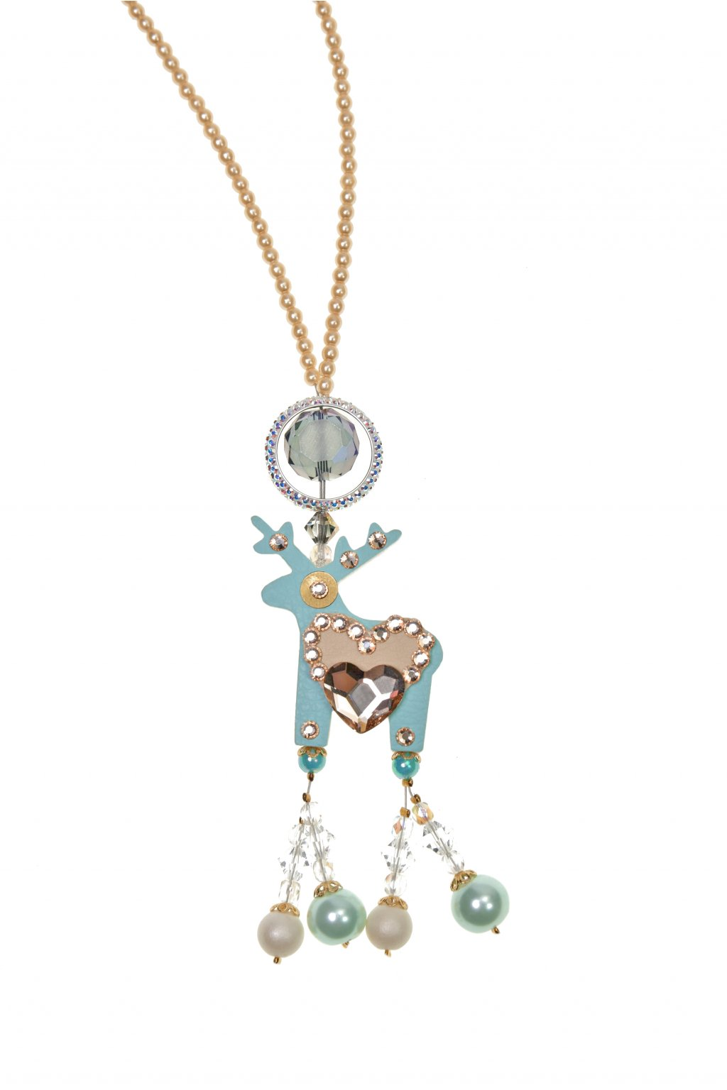 Světle tyrkysový náhrdelník s mini jelínkem