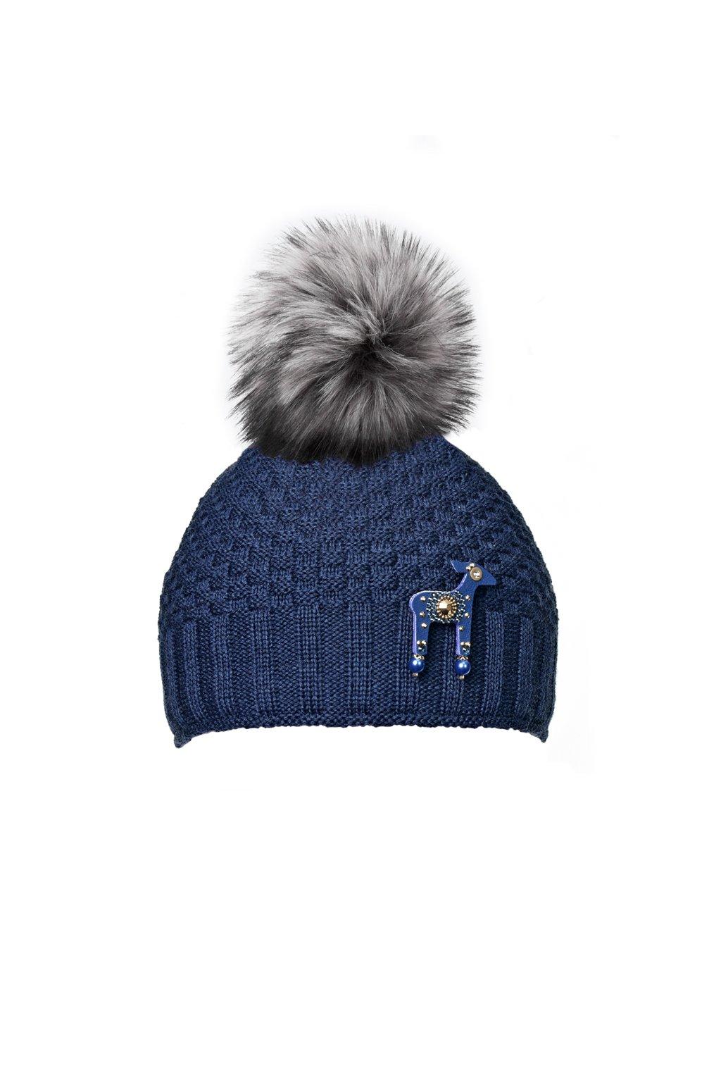 Tmavě modrá čepice KAMA s mini laní