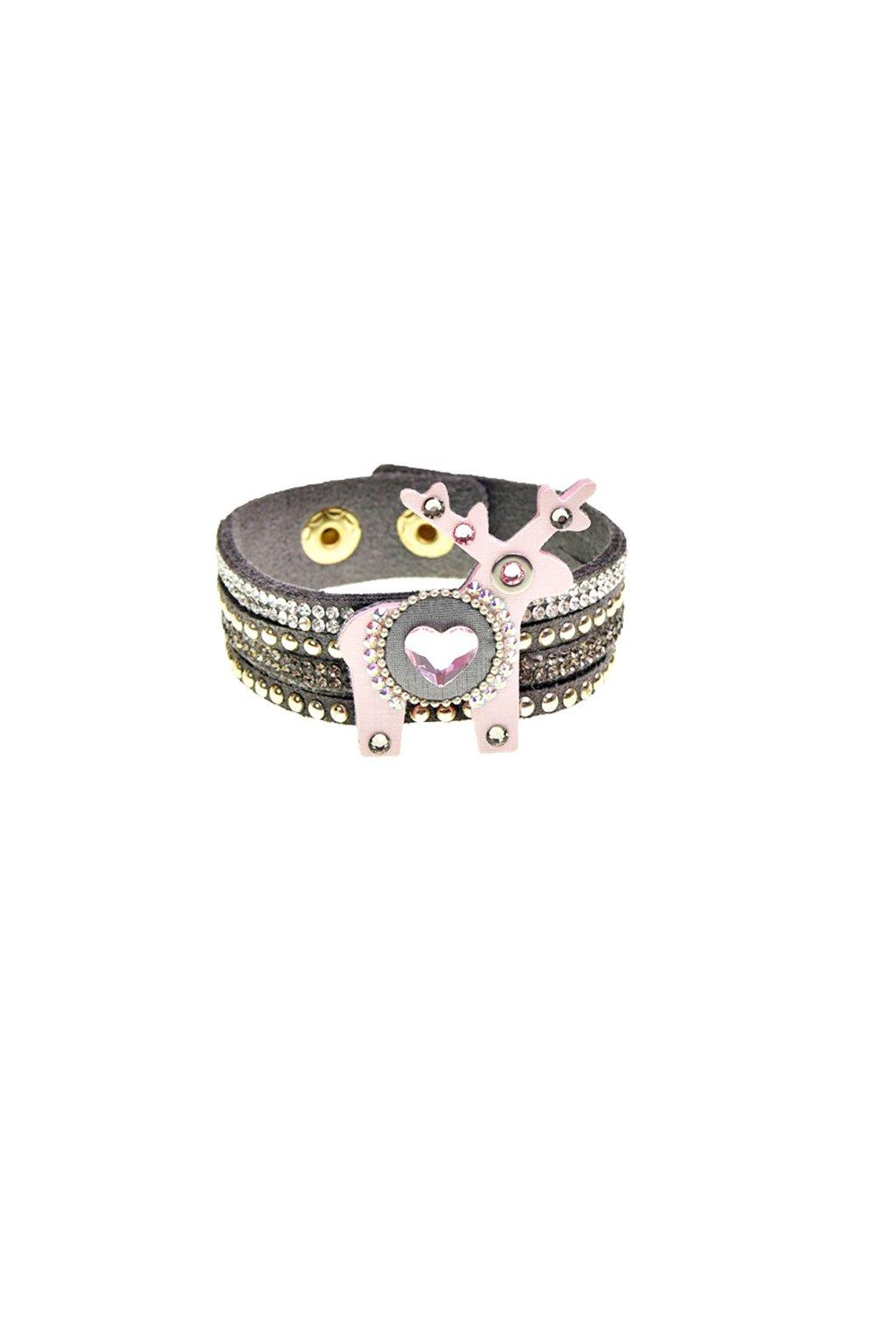 Jemně růžový náramek s mini jelenem