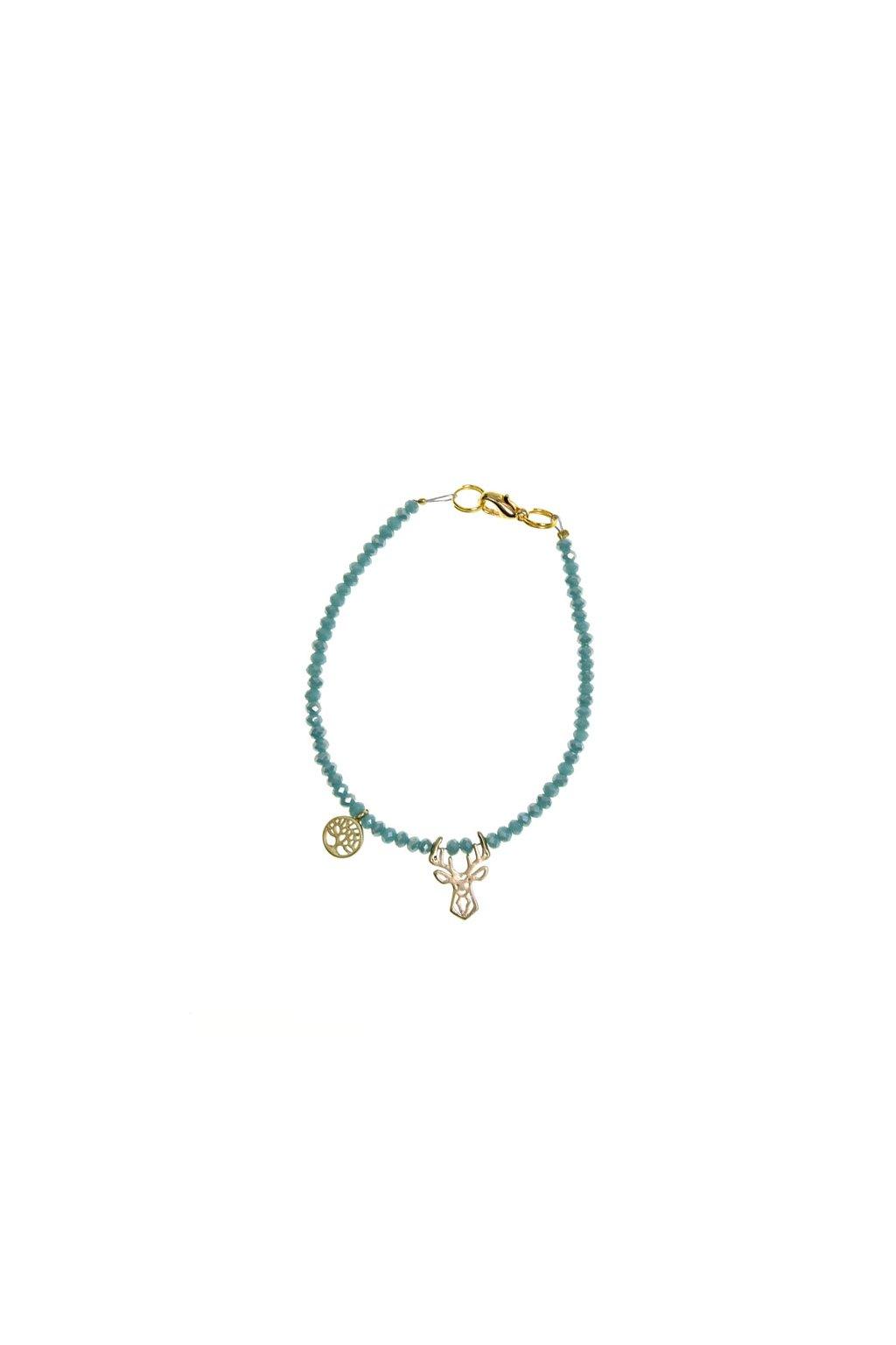 Světle tyrkysový náramek s mini jelenem