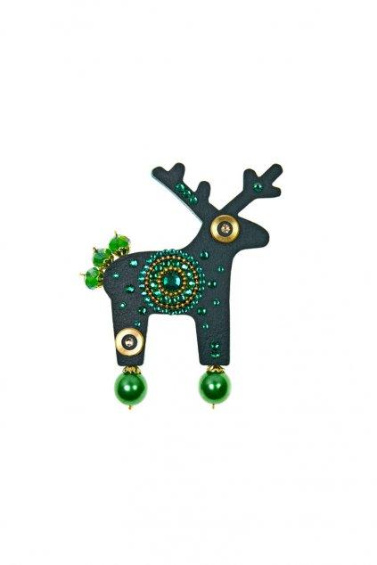 Tmavě zelená jelení brož