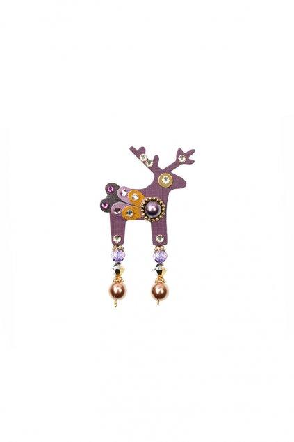 Fialová jelení mini brož