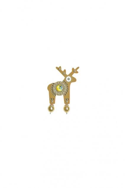 Světle modrá třpytivá jelení mini brož