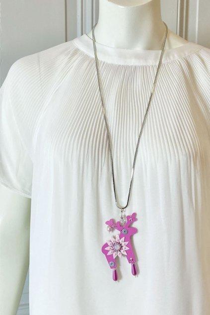 Fialový náhrdelník s mini jelínkem