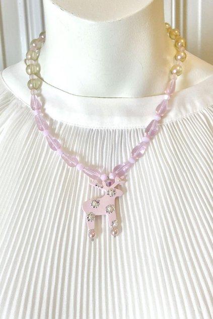 Duhový řetízkový náhrdelník s mini jelínkem