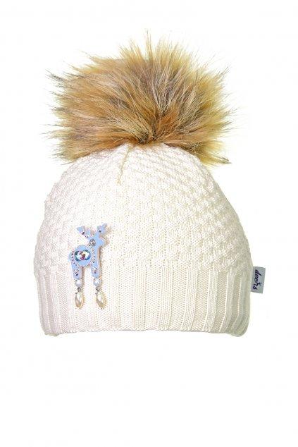 Béžová čepice Kama s mini jelínkem Deers