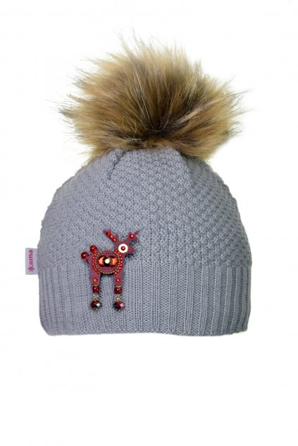 Šedivá čepice Kama s mini jelínkem Deers