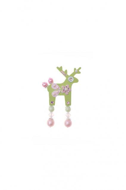 Džínová jelení mini brož