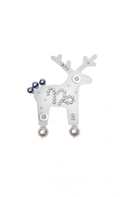 Stříbrná jelení brož