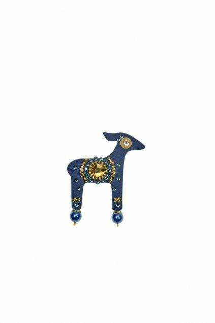 Tmavě modrá mini brož laňky