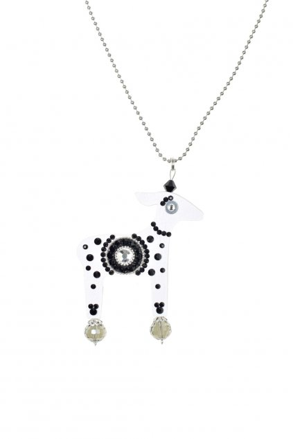 Černobílý náhrdelník s laní
