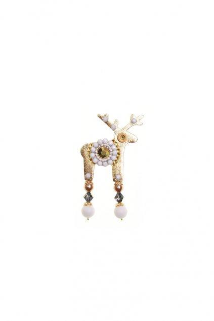 Mentolová jelení mini brož