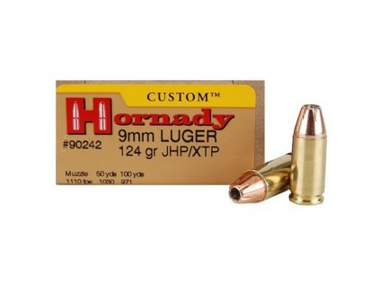 naboj kulovy hornady custom 9mm luger 124gr jhp xtp