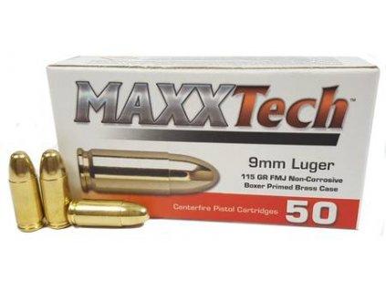 769002 9 mm luger maxx tech 115 gr fmj brass ammo 204501