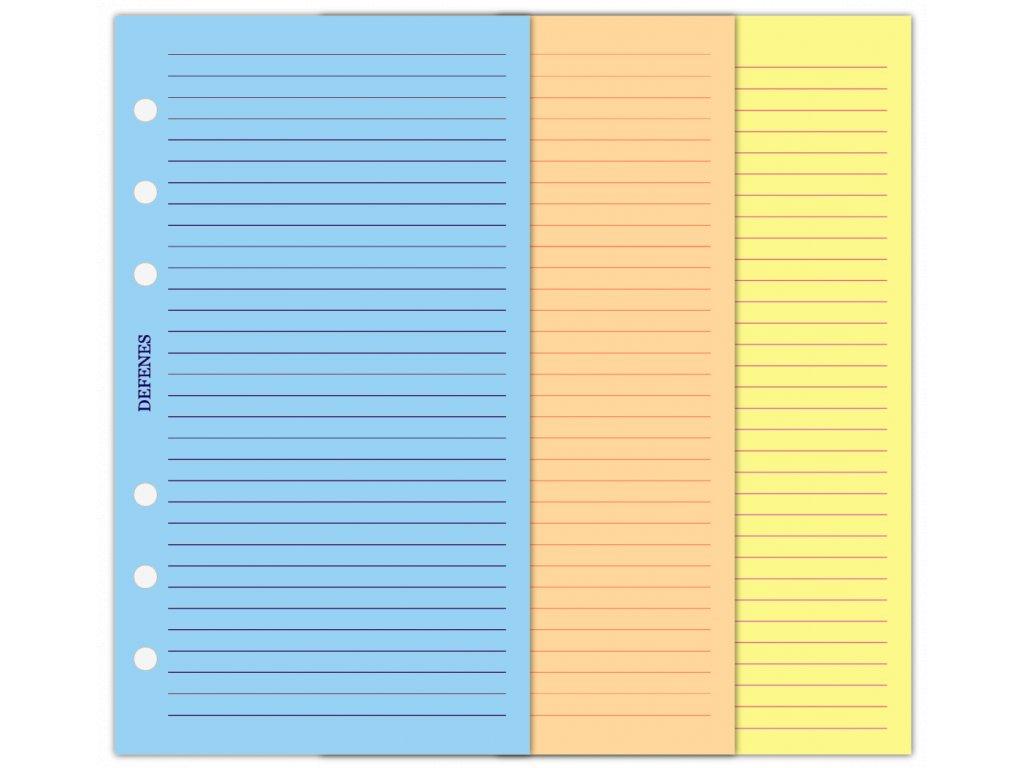 DEFENES Linkované papíry A6, barevné, 21 listů