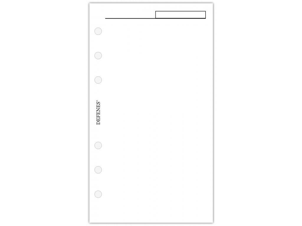 DEFENES Hlavičkový nelinkovaný papír A6, bílý, 40 listů