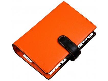DEFENES 4Thought kožený kroužkový diář A6, oranžovo-černý