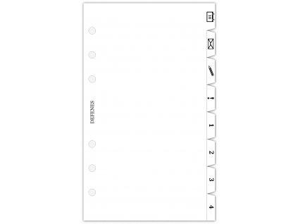 DEFENES Dělící listy do diáře A6, křídový papír, 8 ks