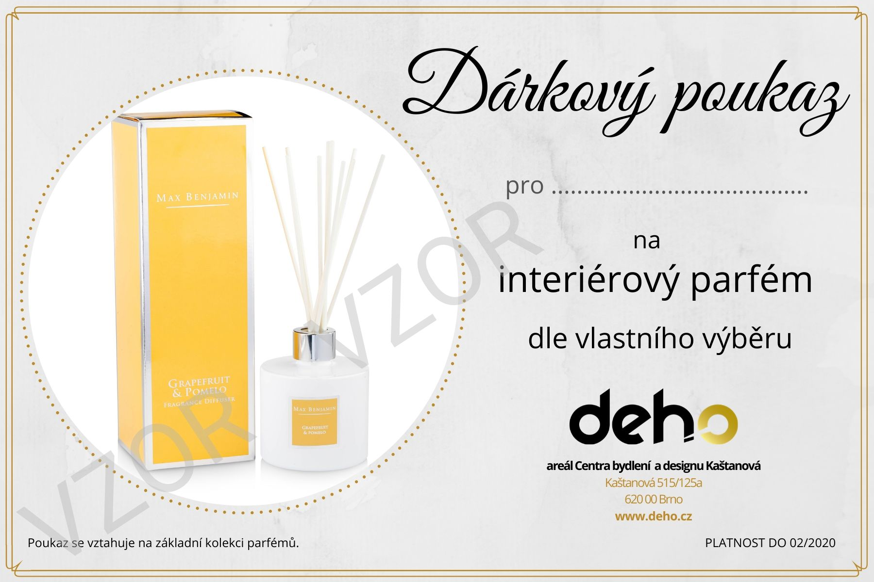 Dárkový poukaz na interiérový parfém