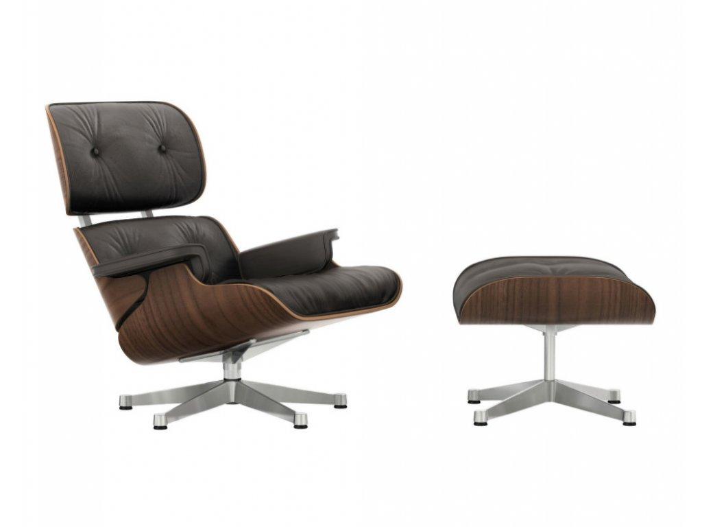 Eames Lounge Chair & Ottoman, black pigmented walnut
