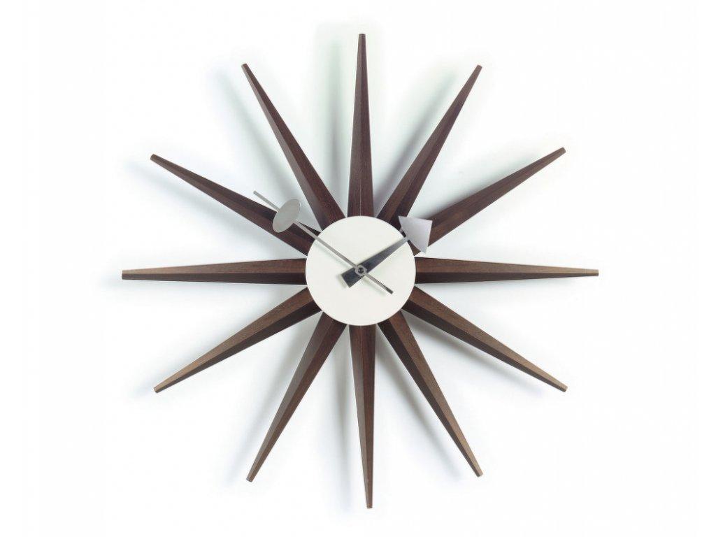 Hodiny Sunburst Clock, walnut