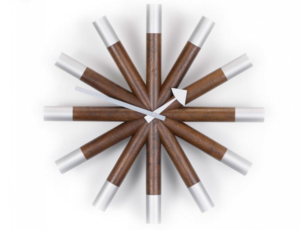 Hodiny Wheel Clock, walnut