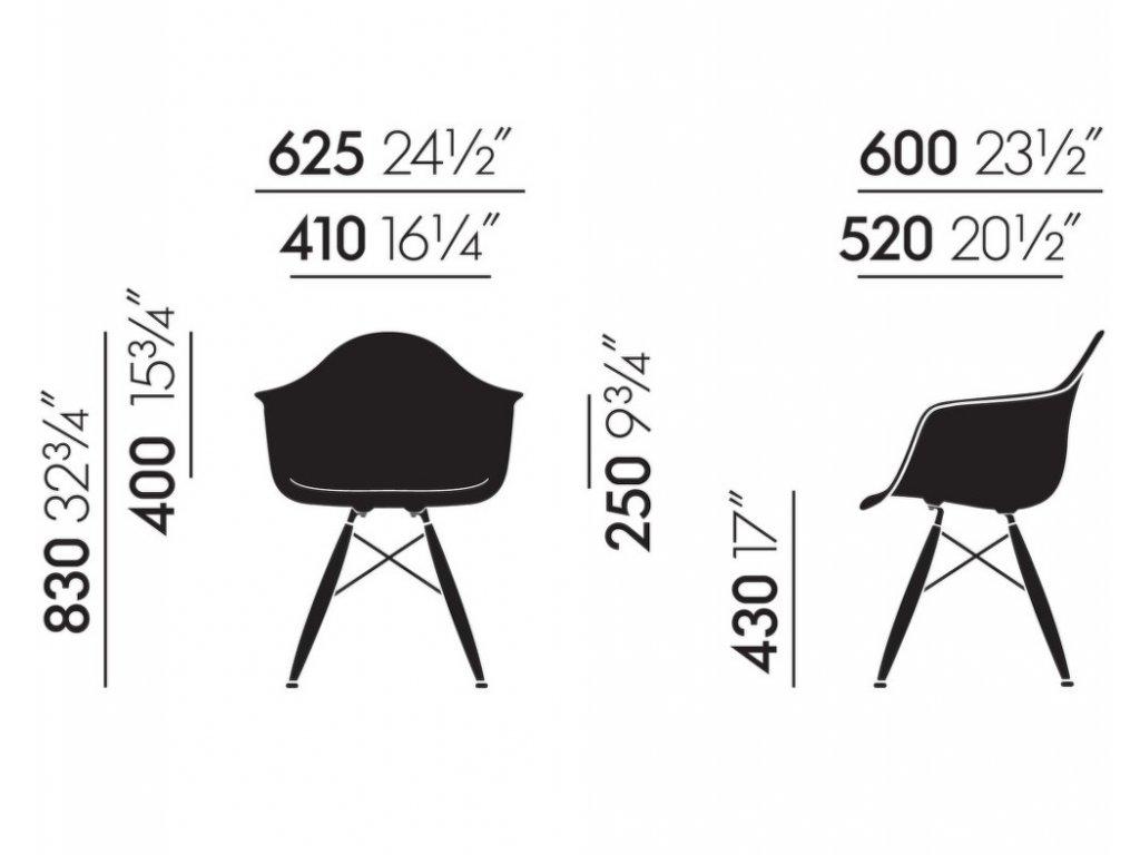 Židle Eames DAW, basic dark - black maple