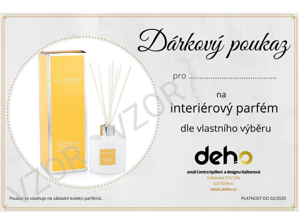Dárkový poukaz na interiérový parfém dle vlastního výběru