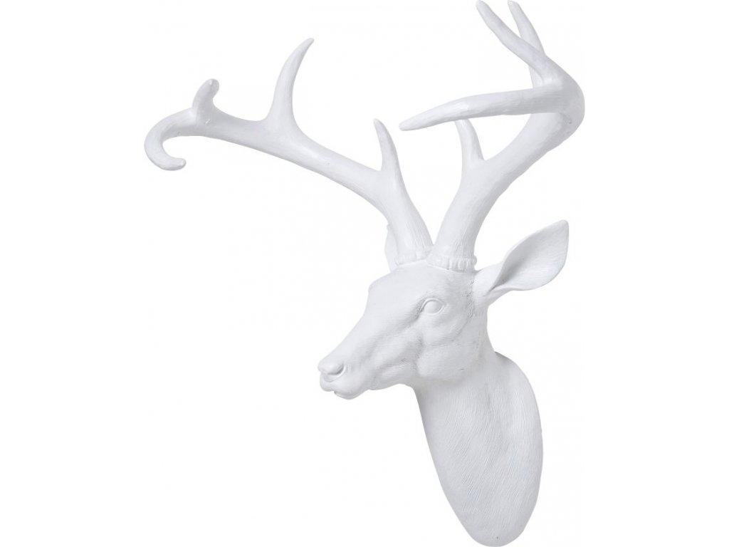 Dekorativní busta Jelen, bílý